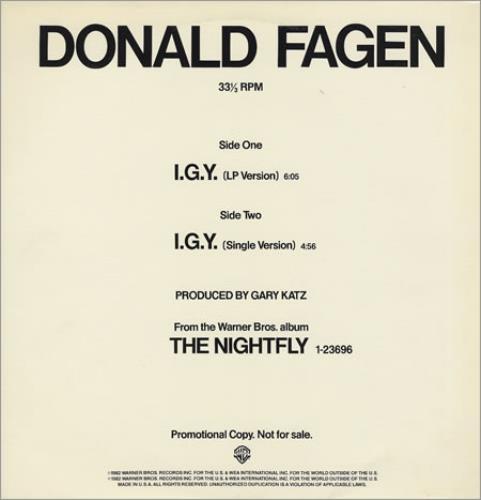"Donald Fagen I.G.Y. 12"" vinyl single (12 inch record / Maxi-single) US DLF12IG256139"