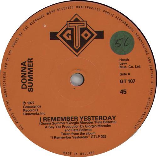 "Donna Summer I Remember Yesyerday 7"" vinyl single (7 inch record) Dutch SUM07IR665737"