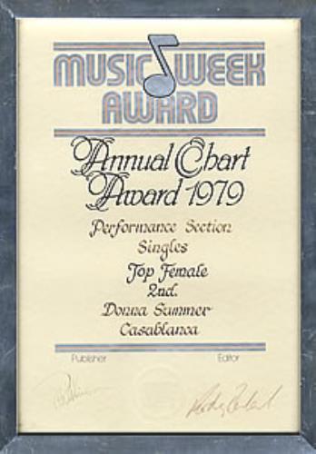 Donna Summer Music Week Award award disc UK SUMAWMU283416