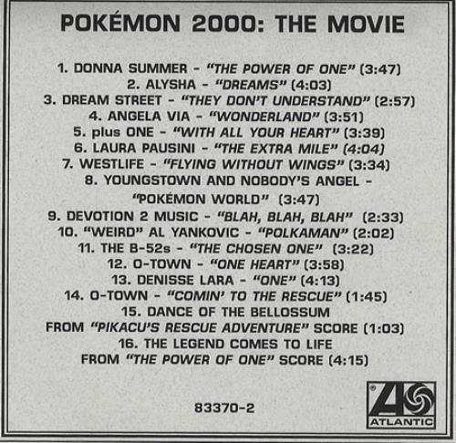 Donna Summer Pokemon 2000 The Movie Us Promo Cd R Acetate 160913
