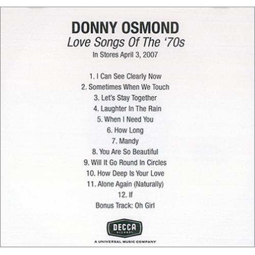 Donny Osmond Love Songs Of The 70's US Promo 2-disc CD/DVD set (418085)