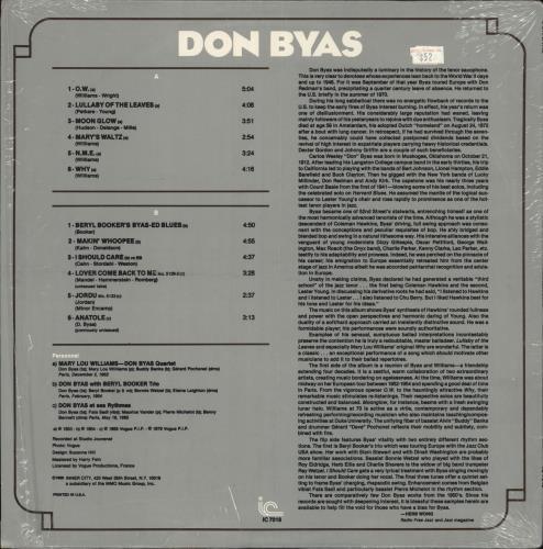 Don Byas Jazz Legacy vinyl LP album (LP record) US BY2LPJA722660