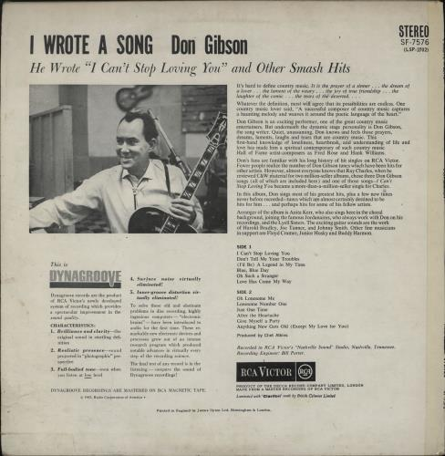 Don Gibson I Wrote A Song... vinyl LP album (LP record) UK DGILPIW752878
