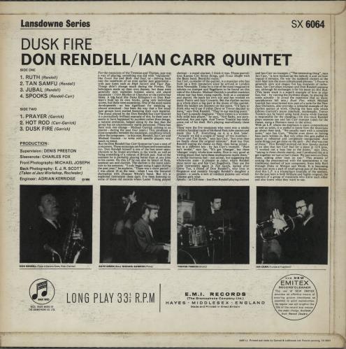 Don Rendell & Ian Carr Dusk Fire - 1st vinyl LP album (LP record) UK DLKLPDU648135