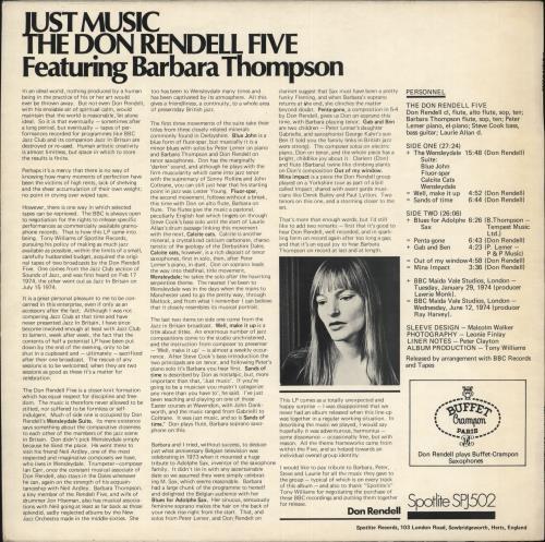 Don Rendell Just Music vinyl LP album (LP record) UK D2XLPJU689472