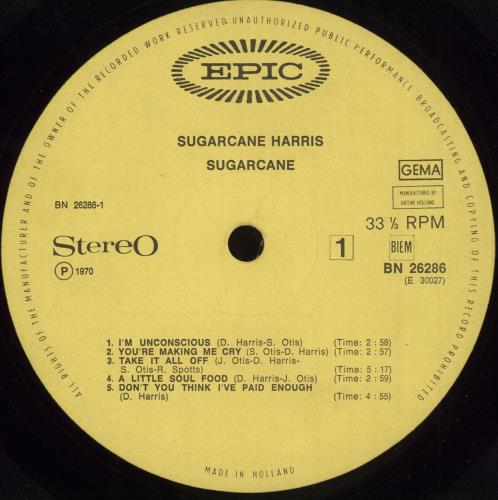Don 'Sugarcane' Harris Sugarcane vinyl LP album (LP record) Dutch DOHLPSU710126