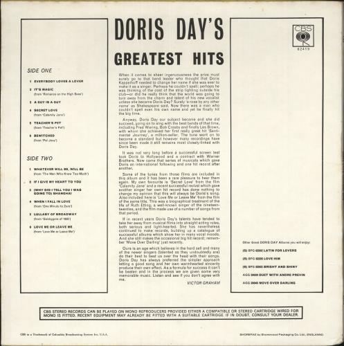Doris Day Doris Day's Greatest Hits vinyl LP album (LP record) UK DRDLPDO731112