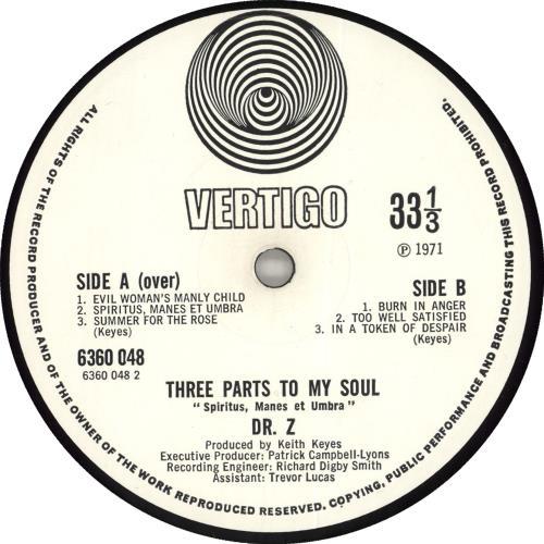 Dr. Z Three Parts To My Soul vinyl LP album (LP record) UK DZCLPTH397016