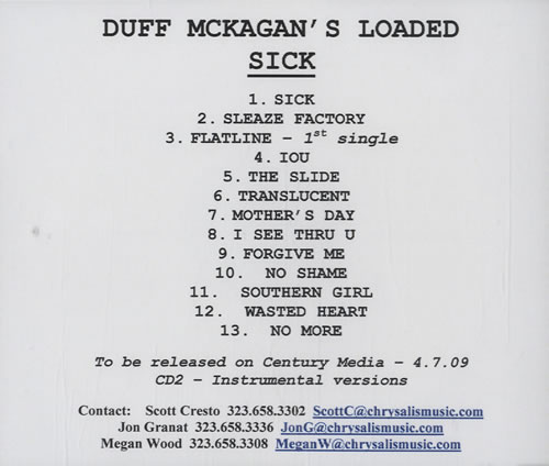 Duff McKagan's Loaded Sick - Double CD-R Set CD-R acetate US DU8CRSI465906