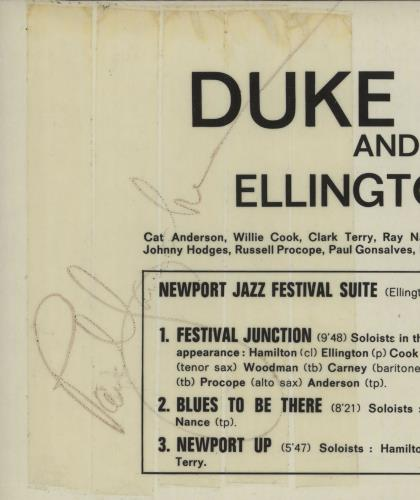 Duke Ellington Ellington At Newport - Autographed vinyl LP album (LP record) German DA3LPEL670228