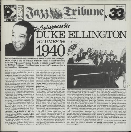 Duke Ellington The Indispensable Duke Ellington Volumes 5/6 2-LP vinyl record set (Double Album) French DA32LTH670222
