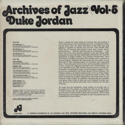 Duke Jordan Archives Of Jazz Vol.5 vinyl LP album (LP record) US 0DJLPAR760218