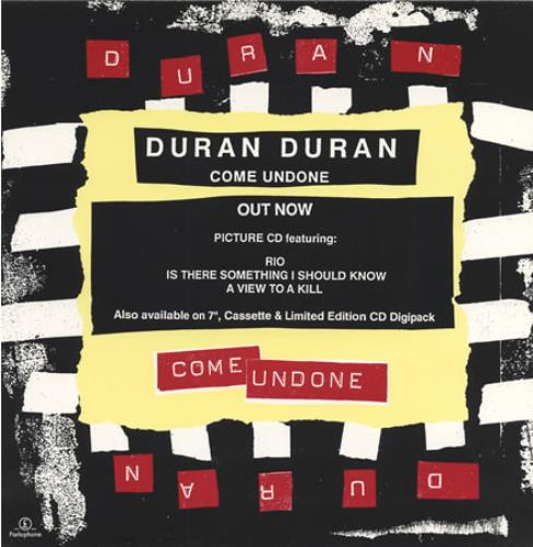 Duran Duran Come Undone - Out Now - Display Card display UK DDNDICO36763