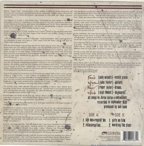 "Duran Duran Girls On Film 1979 Demo - Clear Vinyl - Sealed 12"" vinyl single (12 inch record / Maxi-single) US DDN12GI704191"