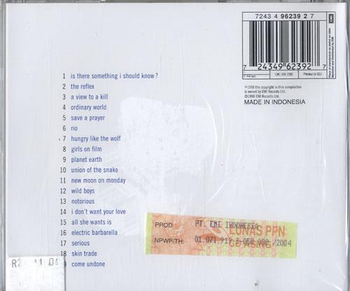 Duran Duran Greatest Hits Indonesian Cd Album Cdlp 312507