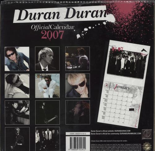 Duran Duran Official Calendar 2007 calendar UK DDNCAOF378028