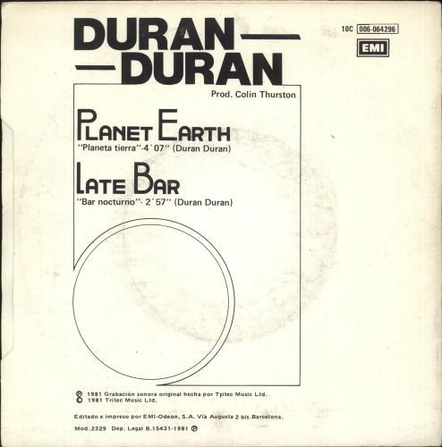 "Duran Duran Planeta Tierra (Planet Earth) 7"" vinyl single (7 inch record) Spanish DDN07PL179571"