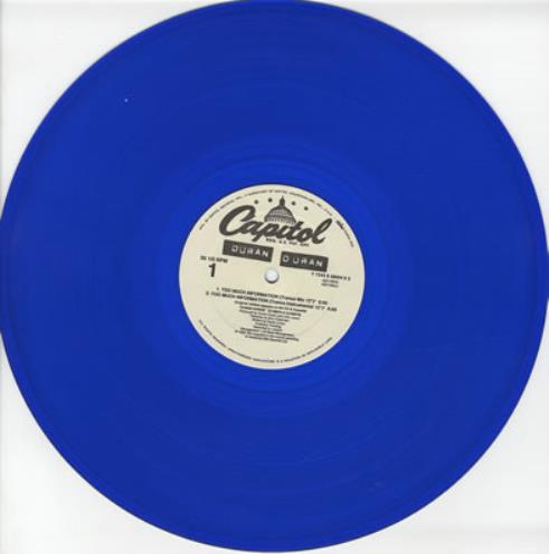 "Duran Duran Too Much Information - Blue Vinyl 12"" vinyl single (12 inch record / Maxi-single) US DDN12TO22392"