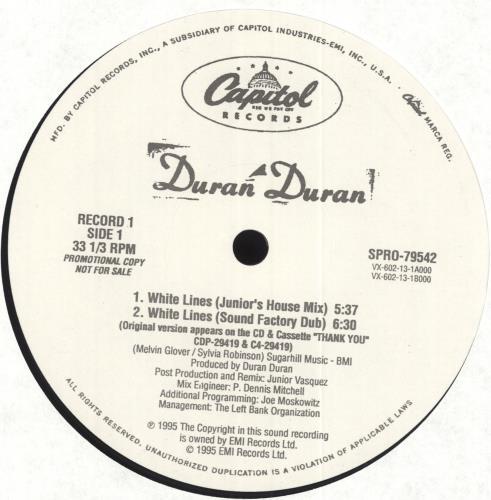 "Duran Duran White Lines - Junior Vasquez Mixes Double Pack 12"" vinyl single (12 inch record / Maxi-single) US DDN12WH41474"