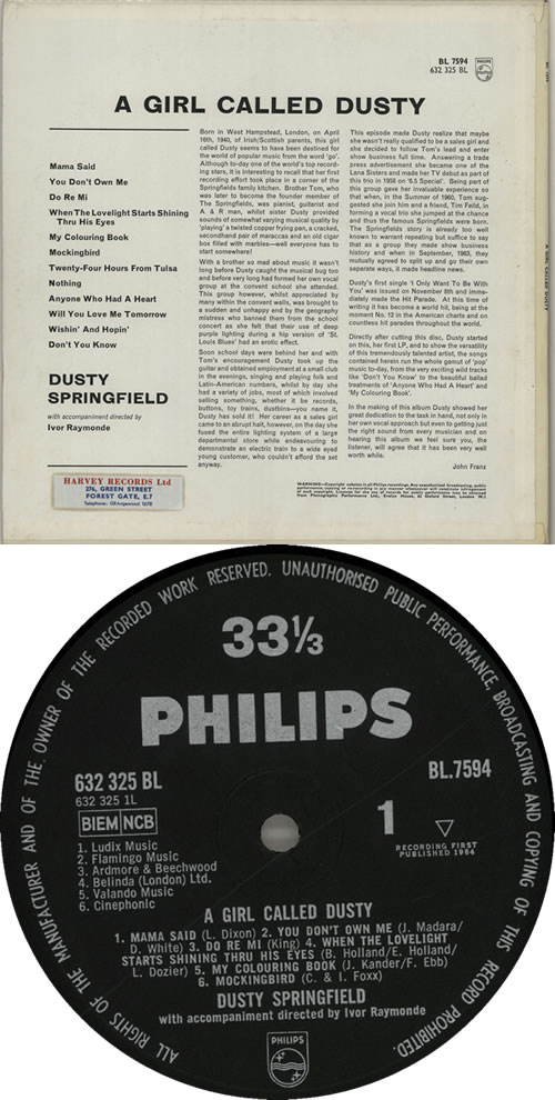 Dusty Springfield A Girl Called Dusty - Pasted - MINT vinyl LP album (LP record) UK DUSLPAG637951