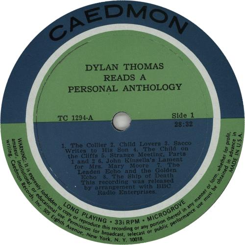 Dylan Thomas Dylan Thomas Reads A Personal Anthology vinyl LP album (LP record) US DK5LPDY669074