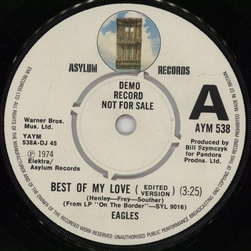 """Eagles Best Of My Love 7"""" vinyl single (7 inch record) UK EAG07BE754026"""