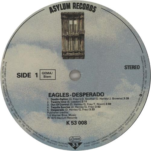 Eagles Desperado vinyl LP album (LP record) German EAGLPDE497730