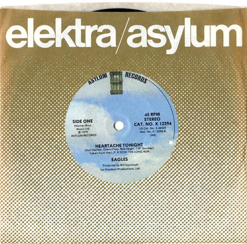 "Eagles Heartache Tonight 7"" vinyl single (7 inch record) US EAG07HE614529"