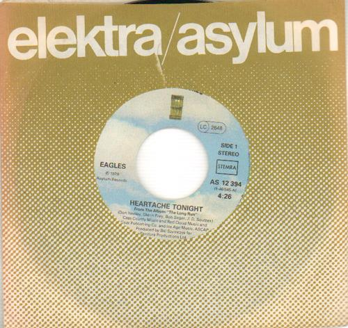 "Eagles Heartache Tonight 7"" vinyl single (7 inch record) German EAG07HE655495"