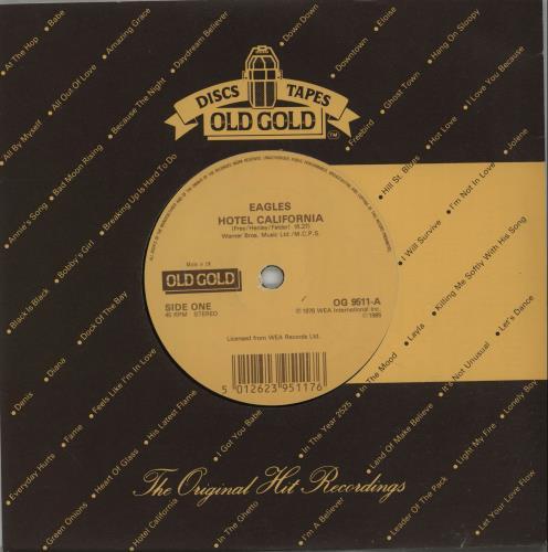 "Eagles Hotel California 7"" vinyl single (7 inch record) UK EAG07HO659346"