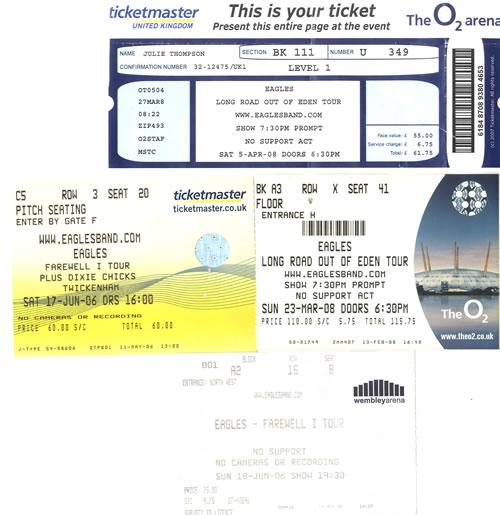 Eagles Set of 4 Ticket Stubs concert ticket UK EAGTISE580510