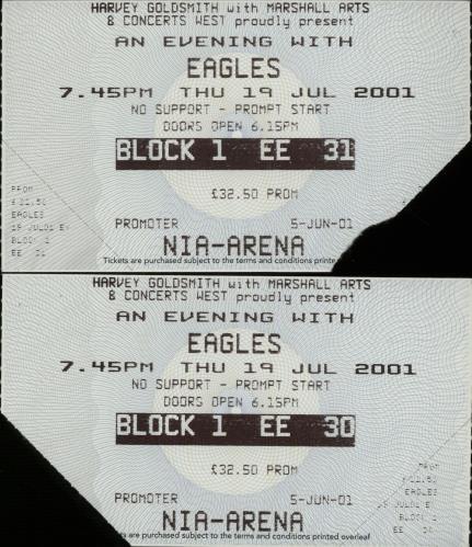 Eagles World Tour 2001 + Tickets tour programme UK EAGTRWO209755