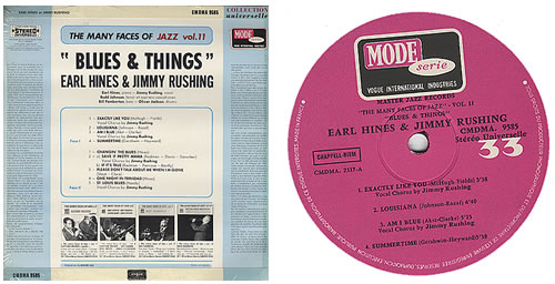 Earl Hines Blues & Things vinyl LP album (LP record) French ER1LPBL372958