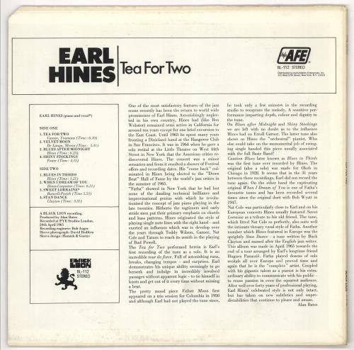 Earl Hines Tea For Two vinyl LP album (LP record) US ER1LPTE721946