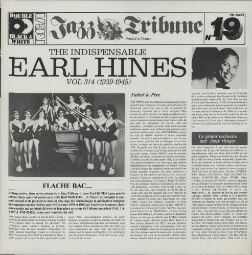 Earl Hines The Indispensable Earl Hines Volumes 3/4 (1939-1945) 2-LP vinyl record set (Double Album) French ER12LTH669031