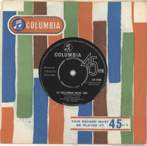 "Eartha Kitt An Englishman Needs Time 7"" vinyl single (7 inch record) UK ERK07AN697594"