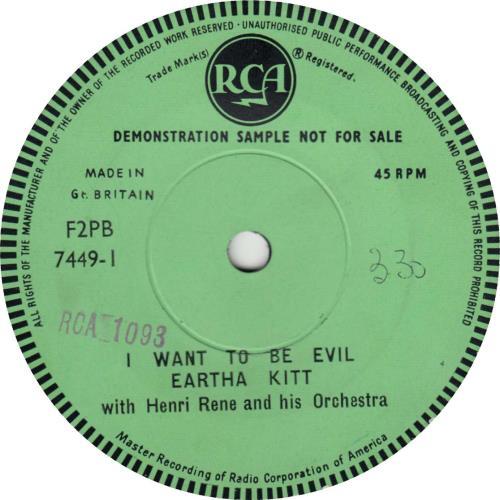 """Eartha Kitt I Want To Be Evil 7"""" vinyl single (7 inch record) UK ERK07IW707788"""