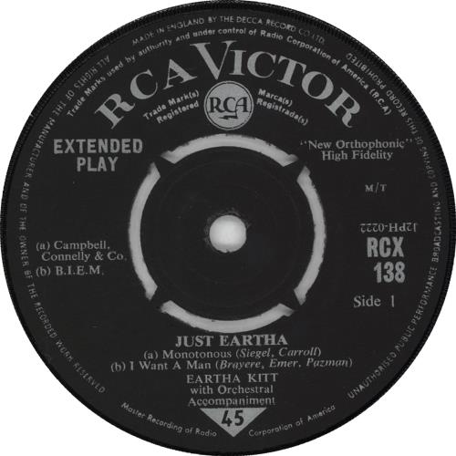 "Eartha Kitt Just Eartha - 2nd 7"" vinyl single (7 inch record) UK ERK07JU366984"