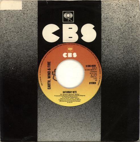 """Earth Wind & Fire Saturday Nite - Wide Centre 7"""" vinyl single (7 inch record) UK EWF07SA689518"""