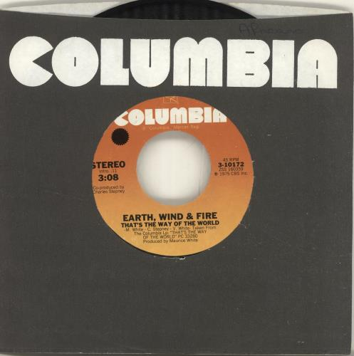 """Earth Wind & Fire That's The Way Of The World 7"""" vinyl single (7 inch record) US EWF07TH695749"""