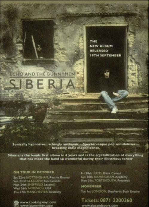 Echo & The Bunnymen Siberia handbill UK ECHHBSI545400
