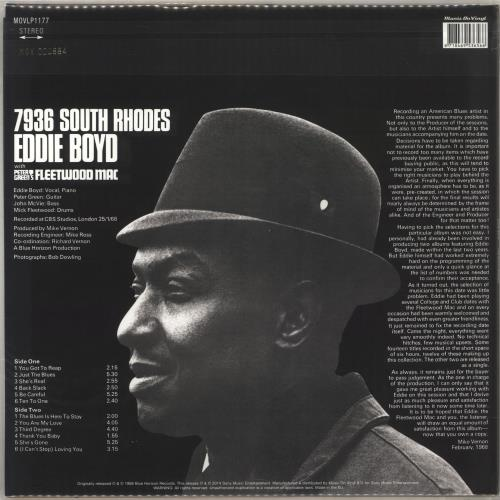 Eddie Boyd 7936 South Rhodes - 180gm Blue - Numbered vinyl LP album (LP record) UK E/BLPSO707072