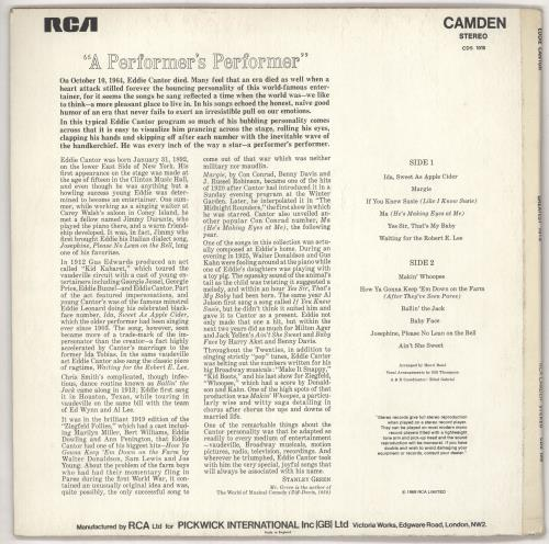 Eddie Cantor The Greatest Hits Of Eddie Cantor vinyl LP album (LP record) UK F9FLPTH722468