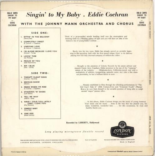 Eddie Cochran Singin' To My Baby - EX vinyl LP album (LP record) UK EDCLPSI710612