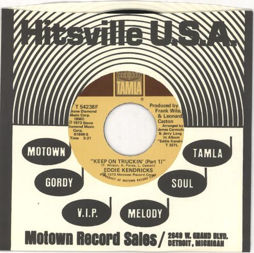 """Eddie Kendricks Keep On Truckin' 7"""" vinyl single (7 inch record) US EKD07KE730447"""