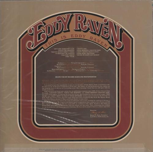 Eddy Raven This Is Eddy Raven vinyl LP album (LP record) US ZYELPTH721627
