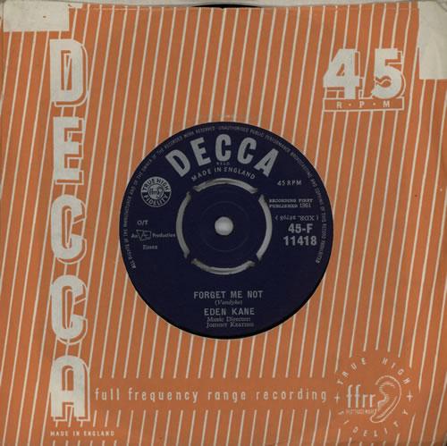 "Eden Kane Forget Me Not 7"" vinyl single (7 inch record) UK EKA07FO570804"