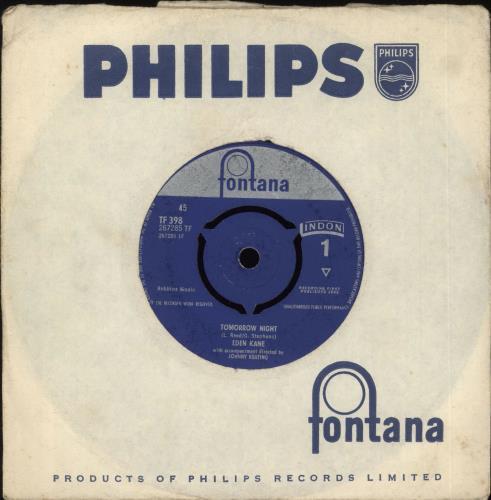 "Eden Kane Tomorrow Night 7"" vinyl single (7 inch record) UK EKA07TO718980"
