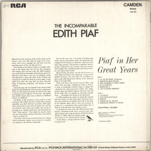 Edith Piaf The Incomparable Edith Piaf vinyl LP album (LP record) UK EPFLPTH698174