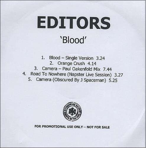 Editors Blood - Five Track CD-R acetate UK EB7CRBL368707